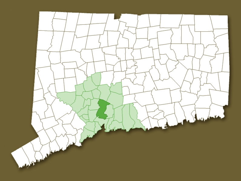 Map of CT with New Haven County and Hamden highlighted
