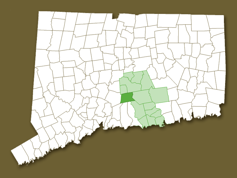 Map of CT with Middlesex County and Durham highlighted